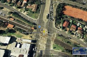 Burke Road level crossing provides for trams too. Source Google Earth