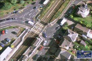 WEm level crossing showing proximity of road junctions. Source: GoogleEarth