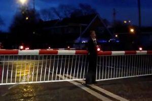 Boy-in-school-uniform-gets-himself-stuck-between-level-crossing-barriers--Altrincham