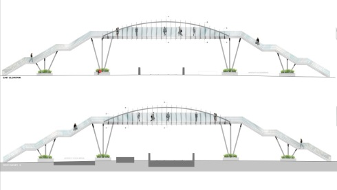 New designs of the Brayford Wharf footbridge in Lincoln